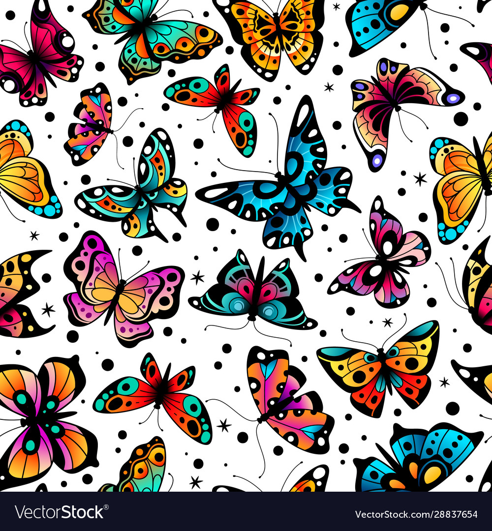 Butterfly seamless pattern cute colorful