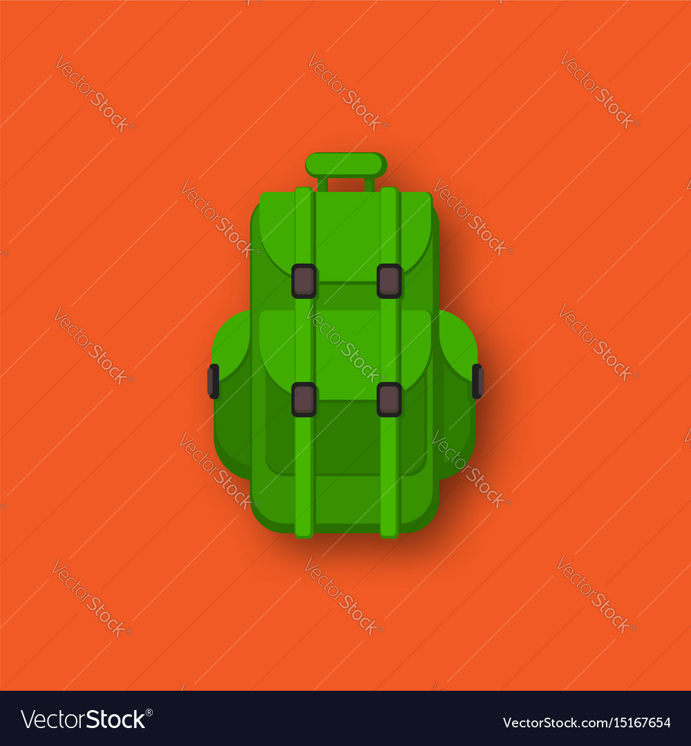 Camping backpack flat cartoon vector image