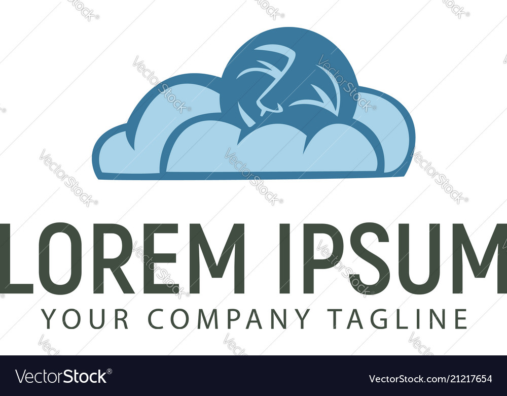 Cloud and moon logo design concept template