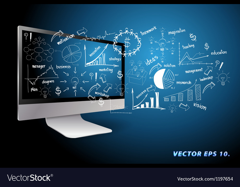 Computer with drawing business plan concept ideas vector image