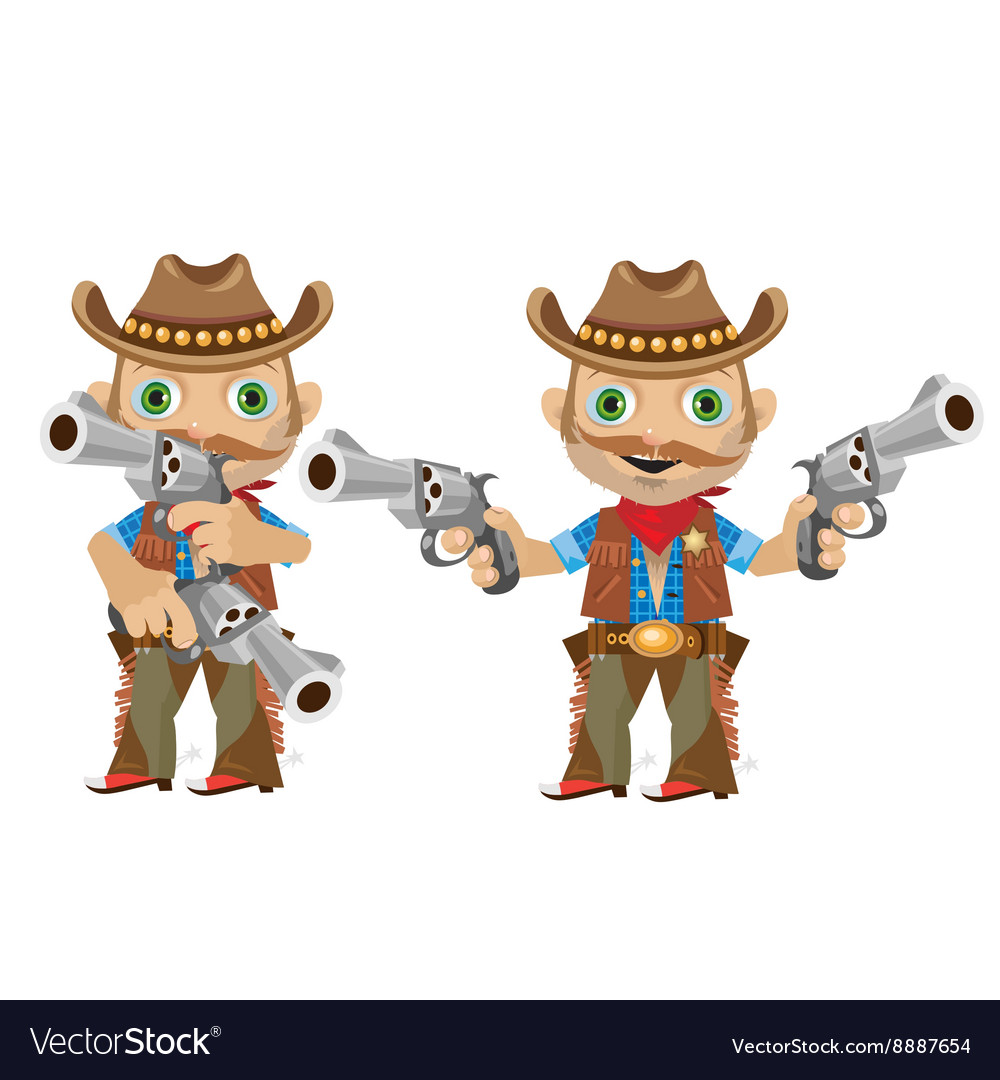 Cool man with a gun in wild West style