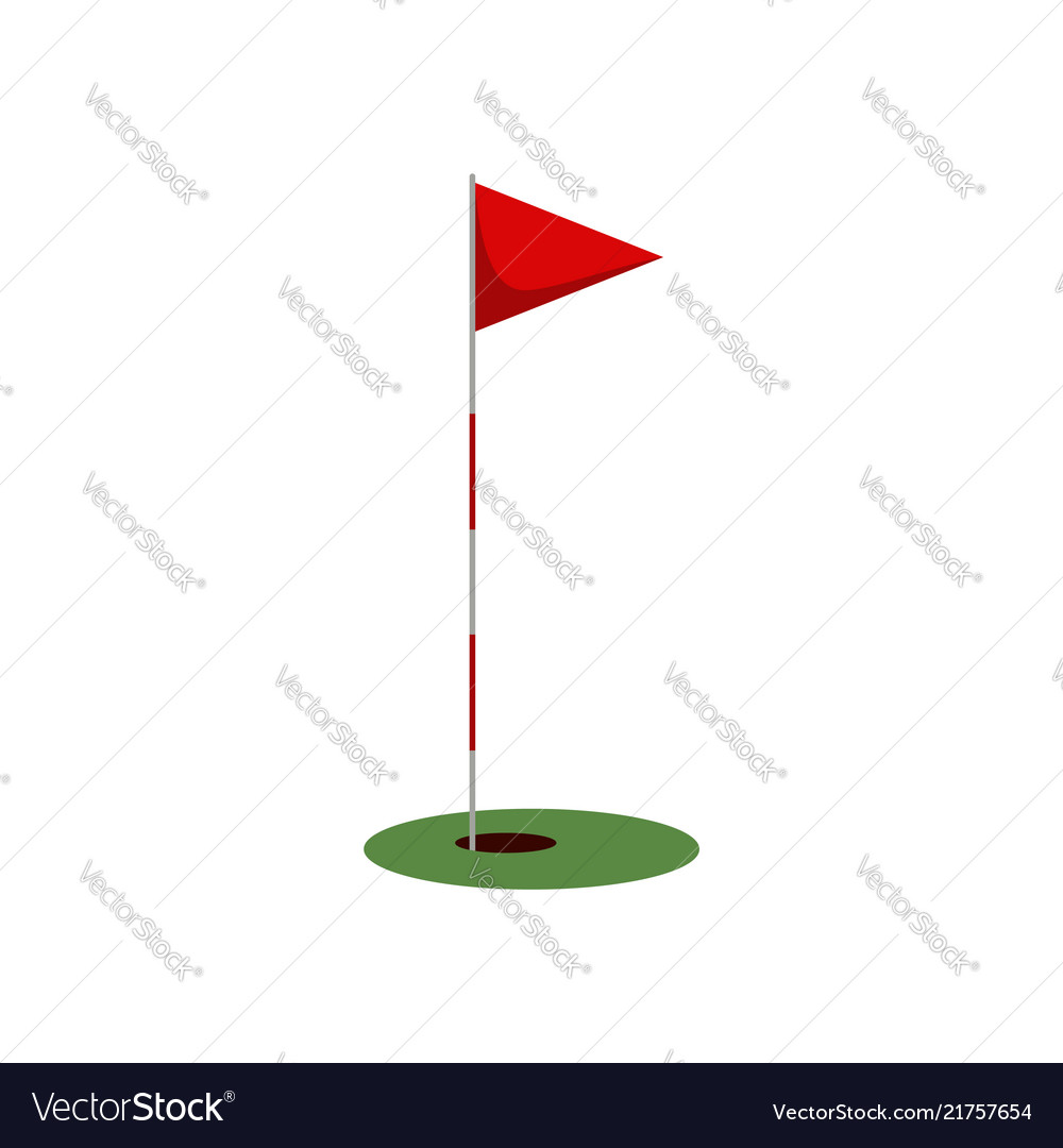 Golf flag on the grass with hole isolated on white
