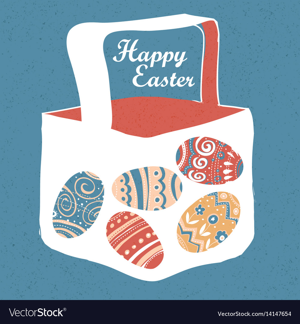 Greeting card with with easter eggs easter basket