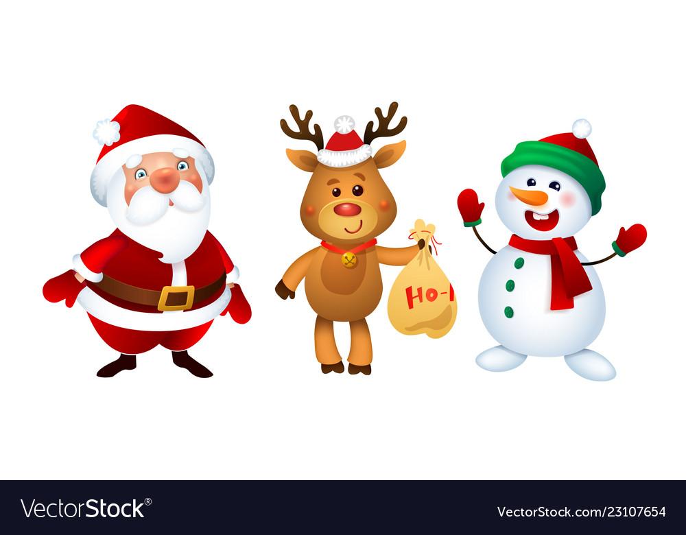 Merry christmas santa claus snowman and reindeer