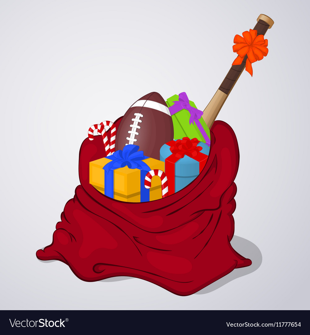 Open Santa Claus bag full of gift and present vector image