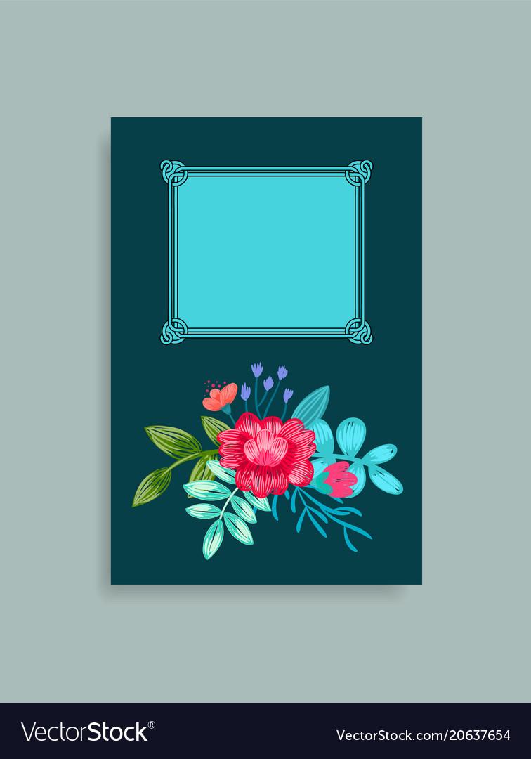 Photo album cover design hand drawn pink flowers