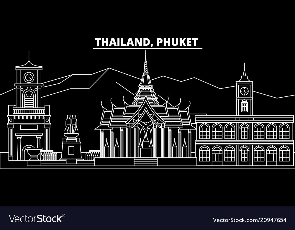 Phuket silhouette skyline thailand - phuket