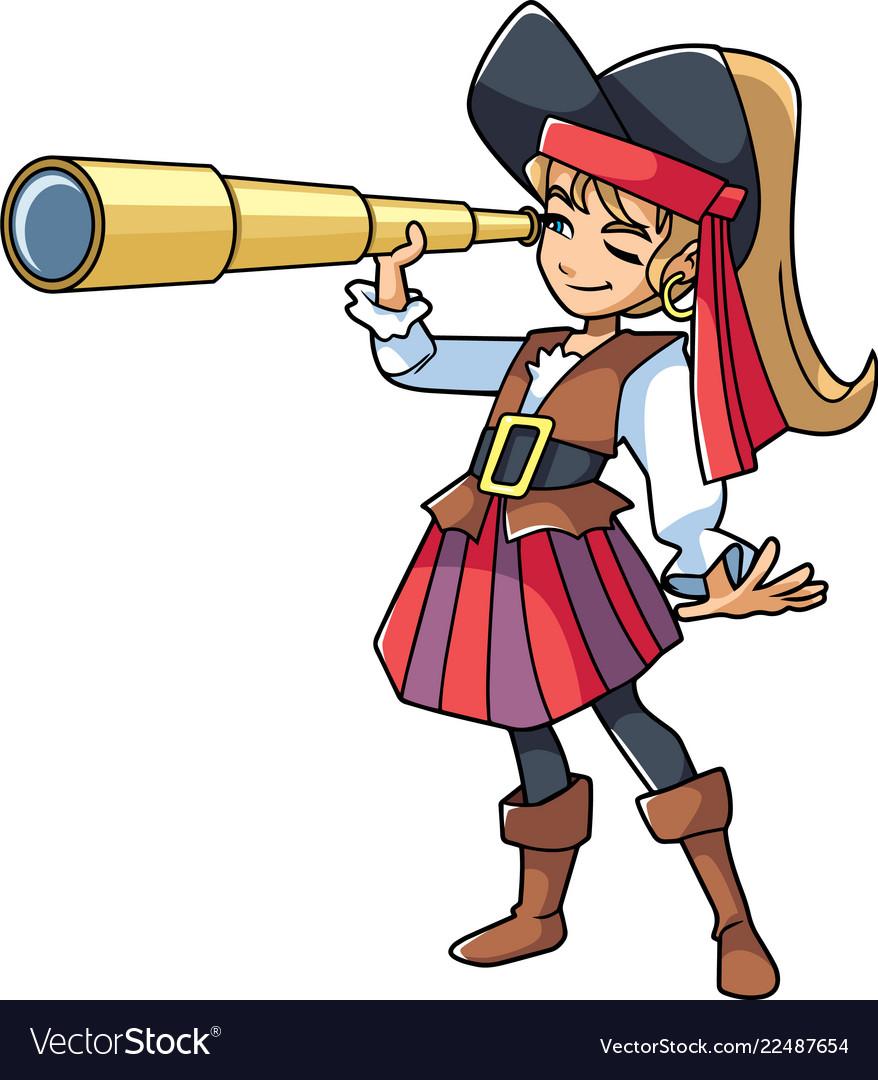 Pirate girl with spyglass