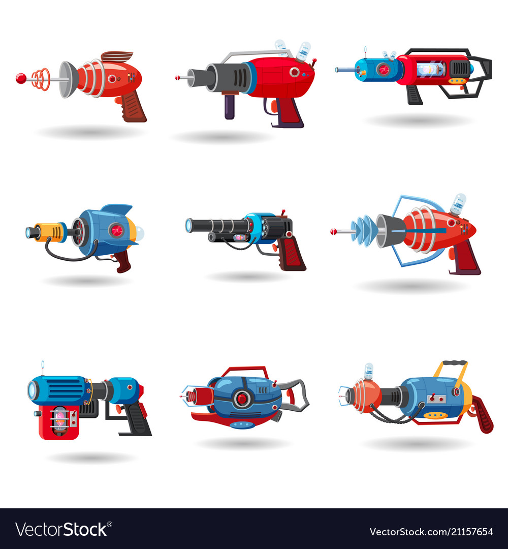 Set cartoon retro space blaster ray gun laser