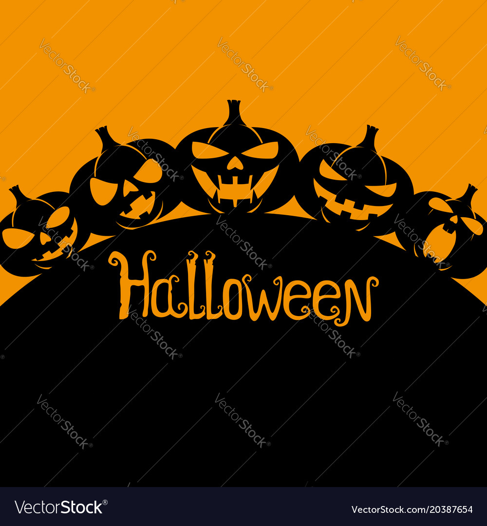 Silhouettes of halloween pumpkins