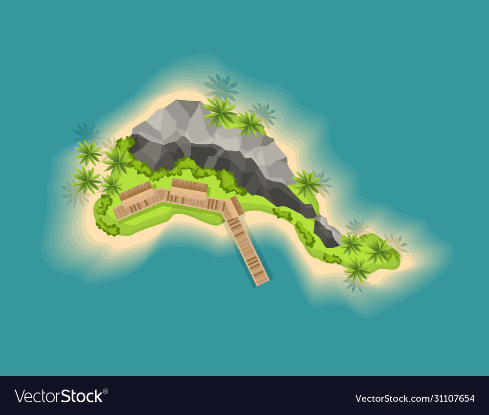 Top view island with volcano view from a height