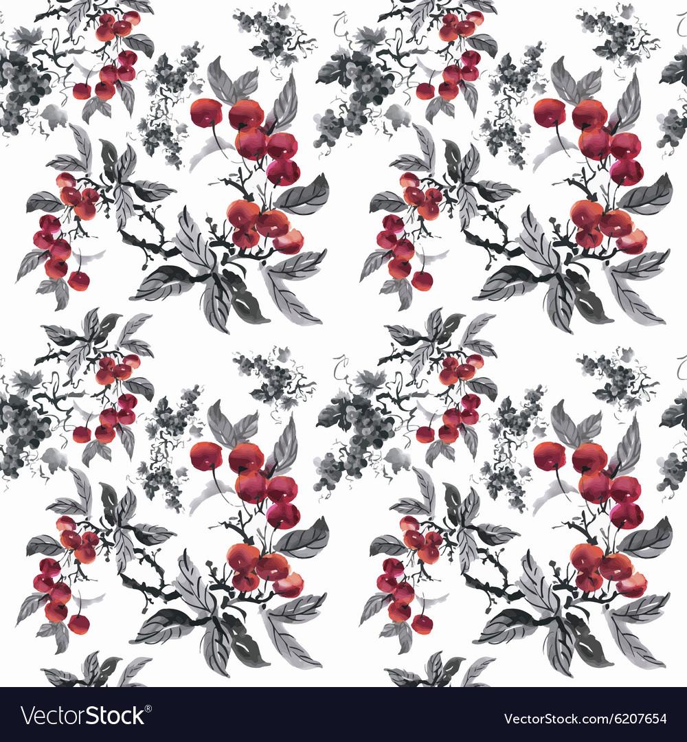 Watercolor garden rowan plant seamless pattern