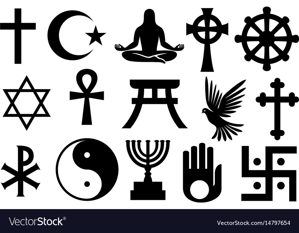 World Religions Symbols Set Royalty Free Vector Image