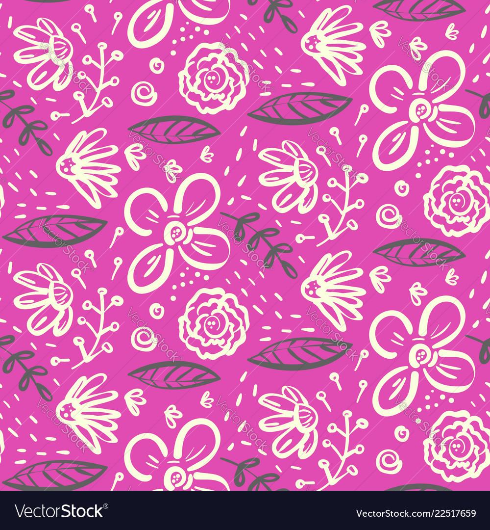 Bright pink doodle floral pattern