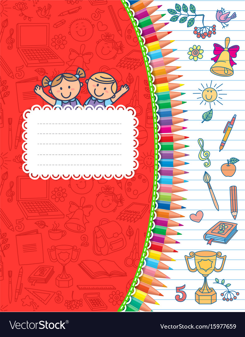 Red cover school notebook in stripes vector image