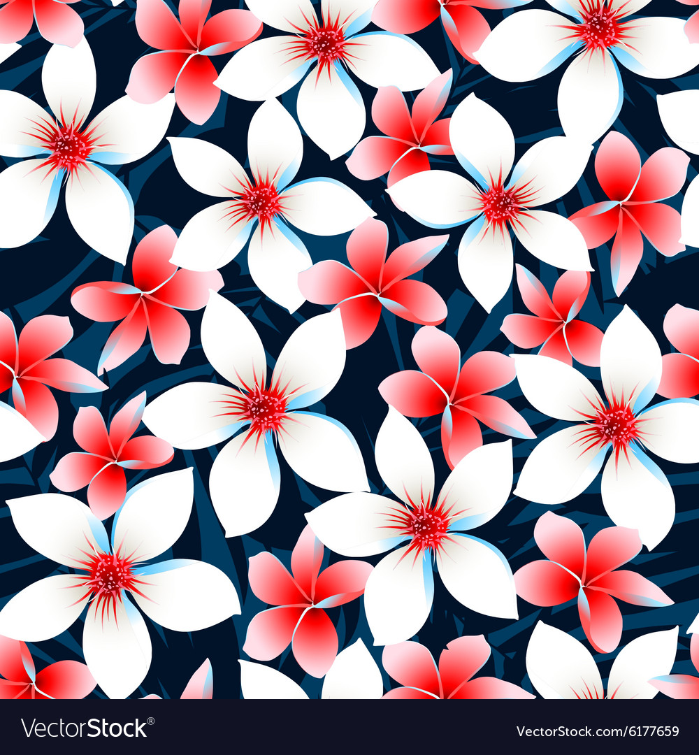 Red White And Blue Tropical Flowers Seamless Vector Image