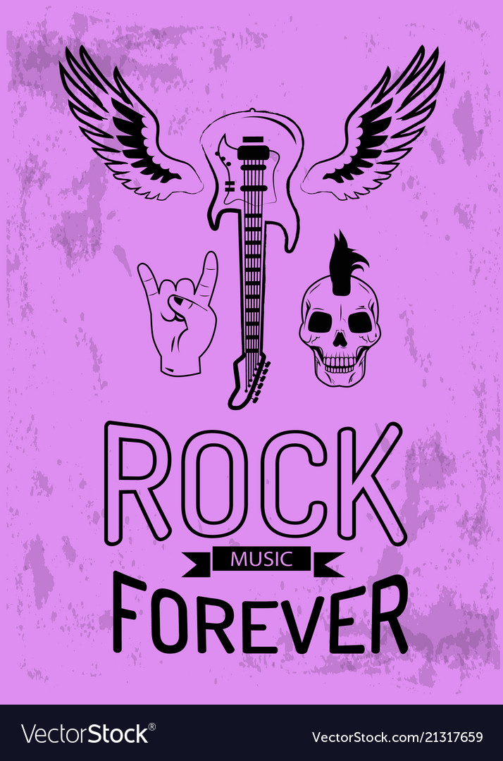 Rock music forever on purple vector