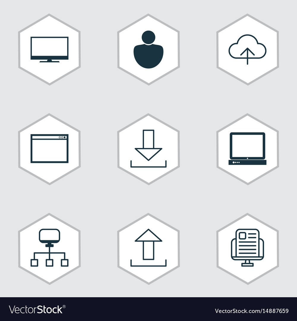 Set of 9 web icons includes display program