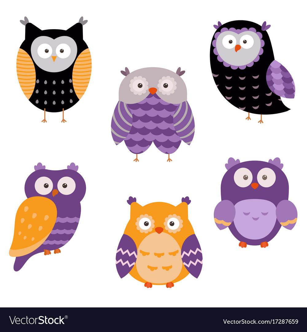 Set of cute owls set of cute owls