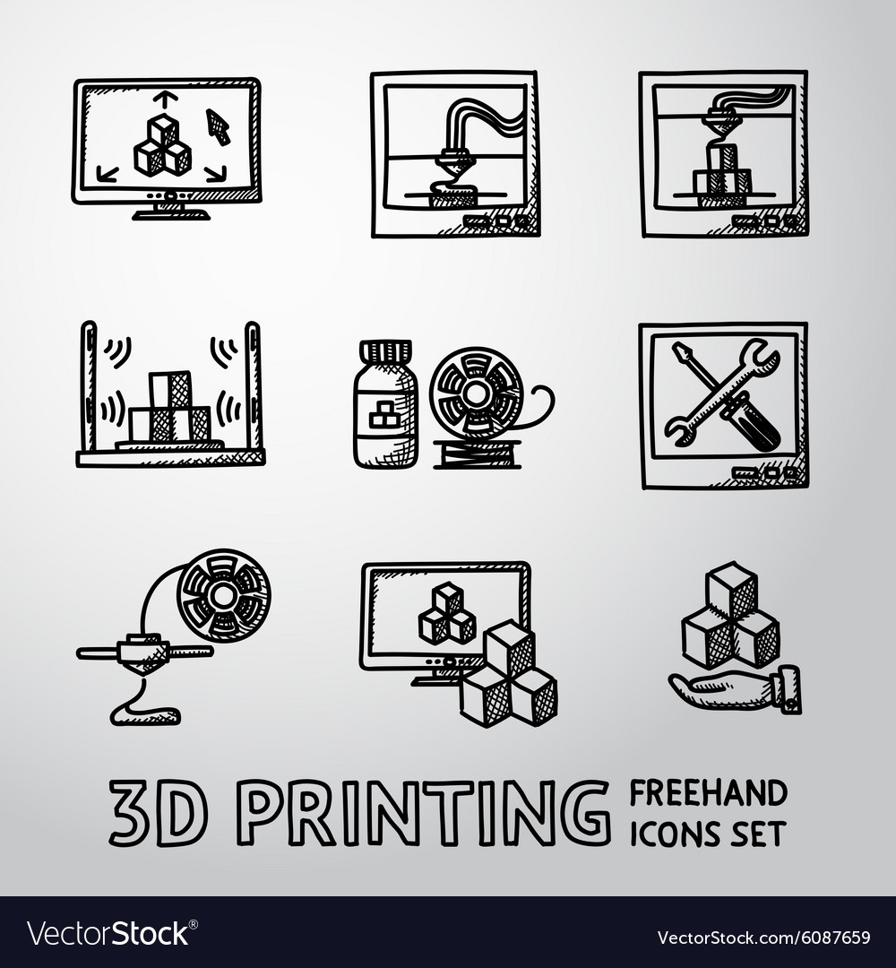 Set of handdrawn 3D Print icons - printers pc vector image