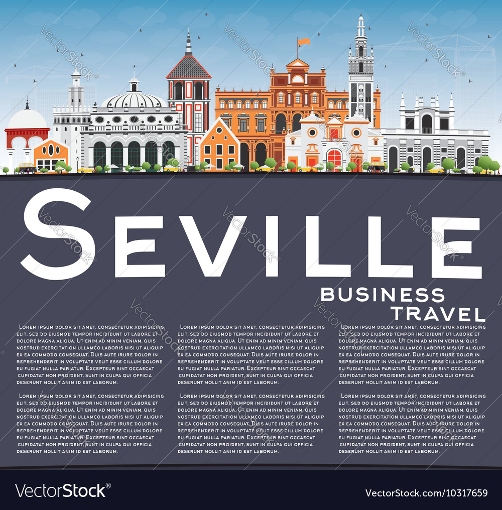 Seville Skyline with Color Buildings