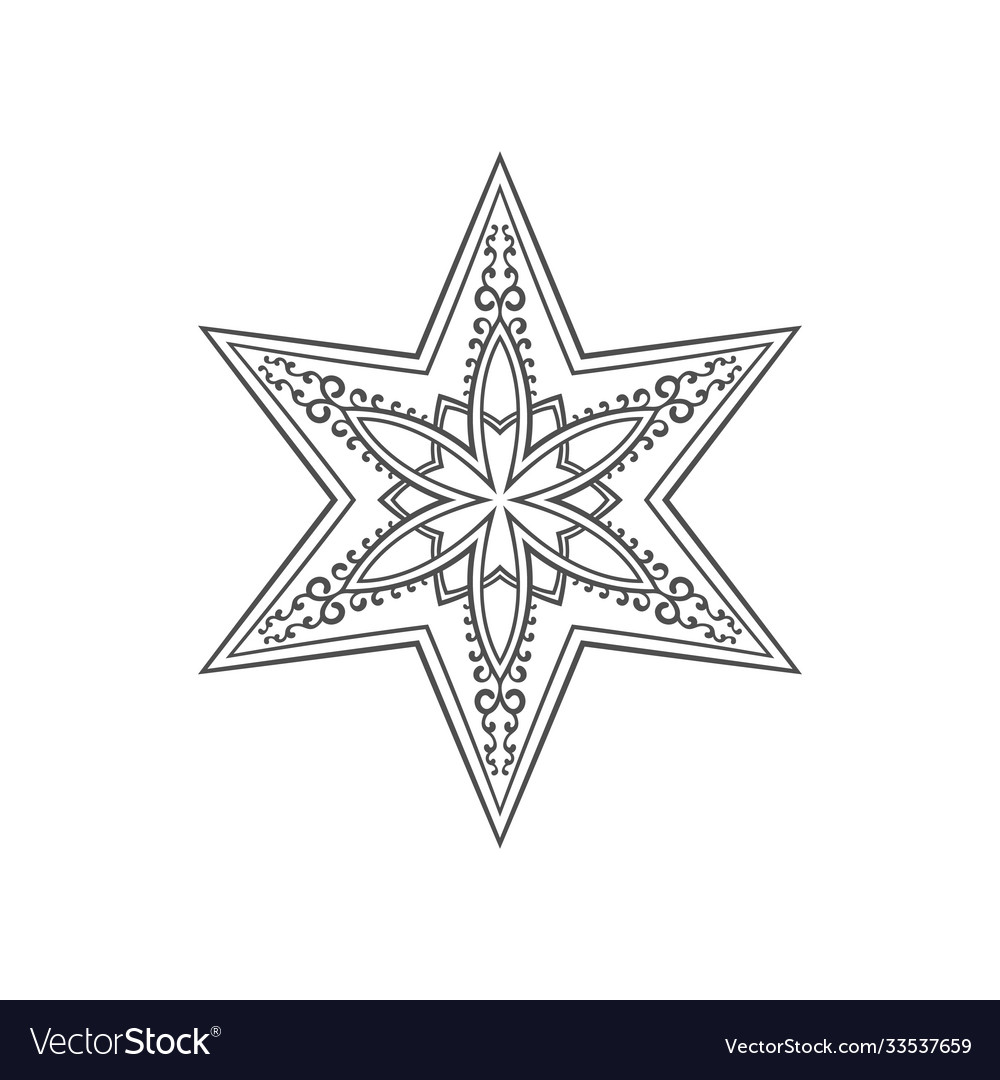Six pointed star entangle isolated design