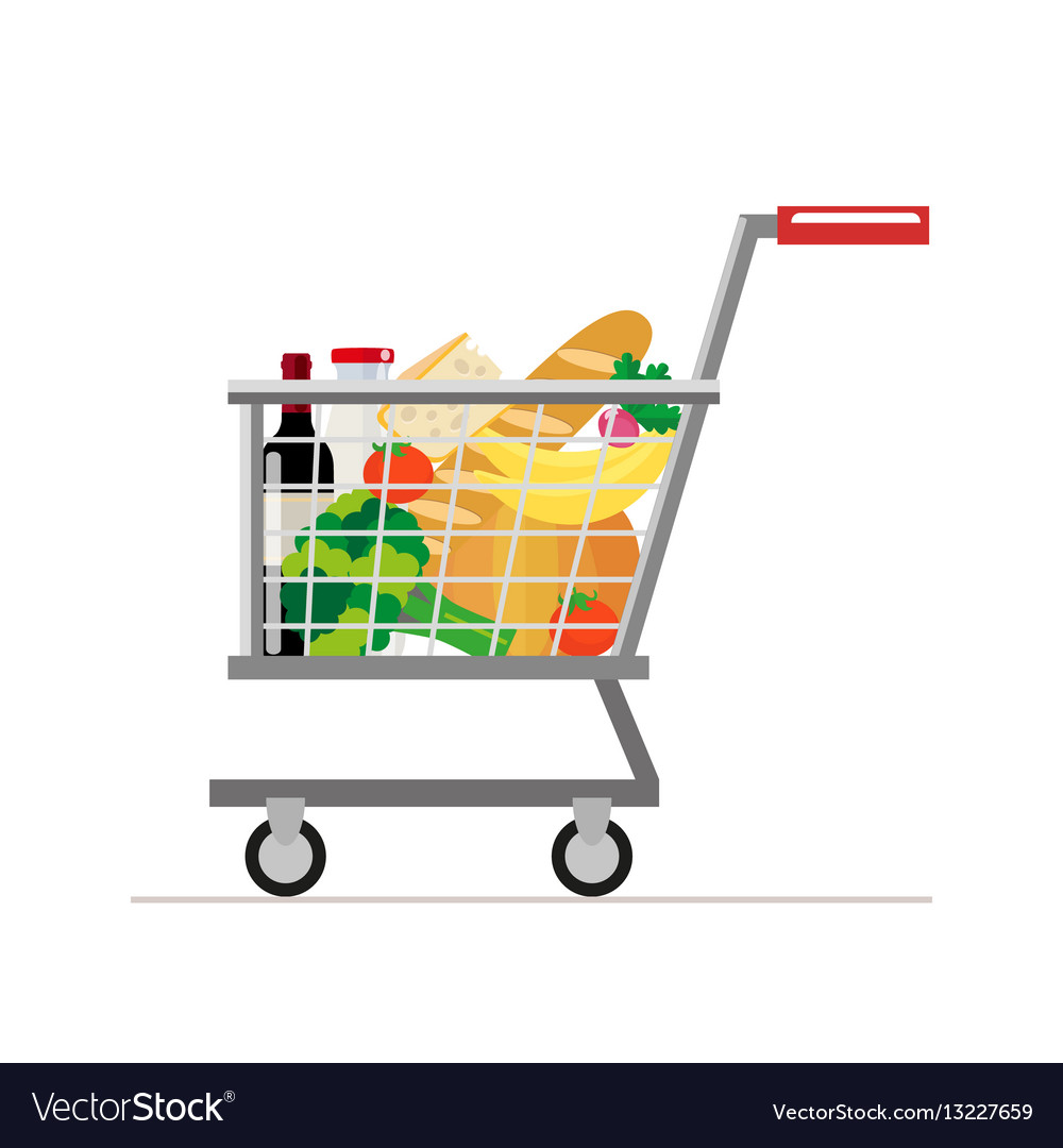 Trolley from the supermarket with food dairy