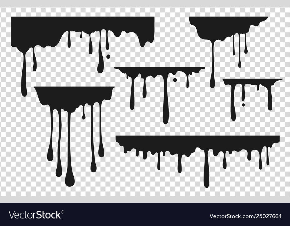 Black dripping stain liquid paint drop oil ink