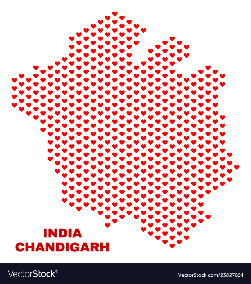 Chandigarh city map - mosaic of valentine hearts