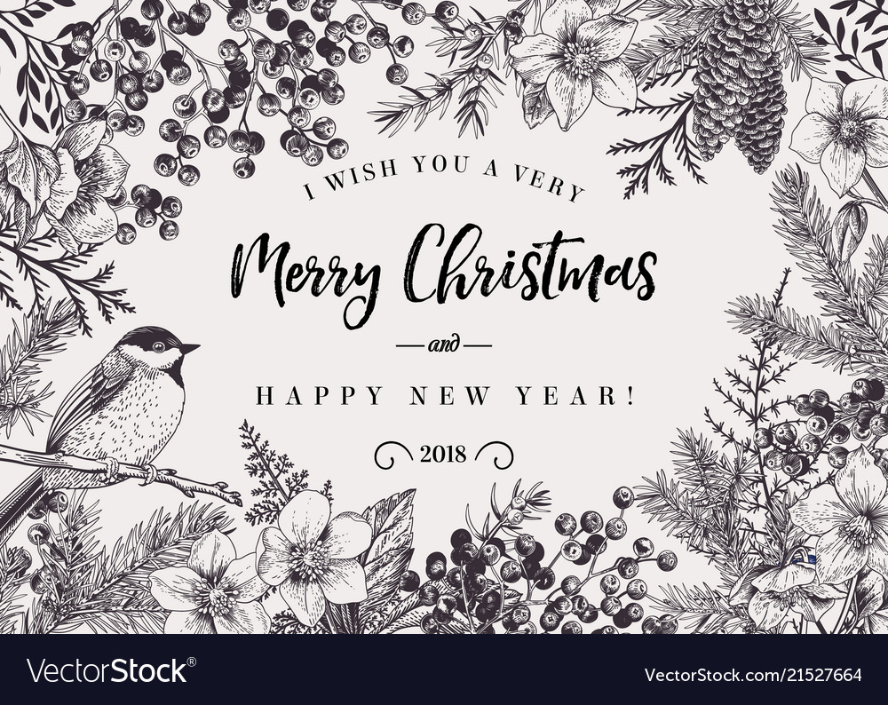 Christmas background with bird