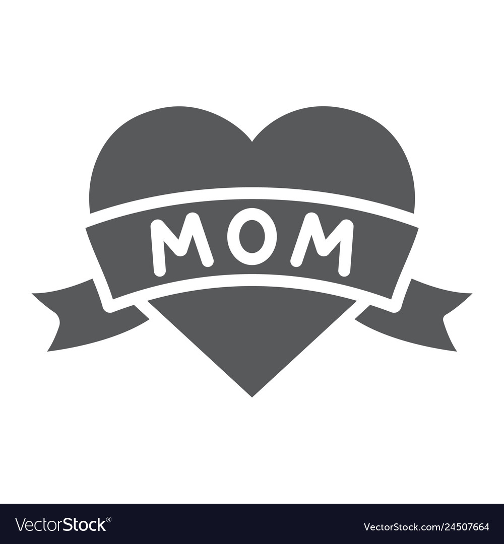 Heart with mom inscription glyph icon love and