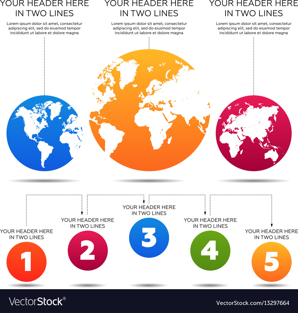 Infographics elements world map 5 steps