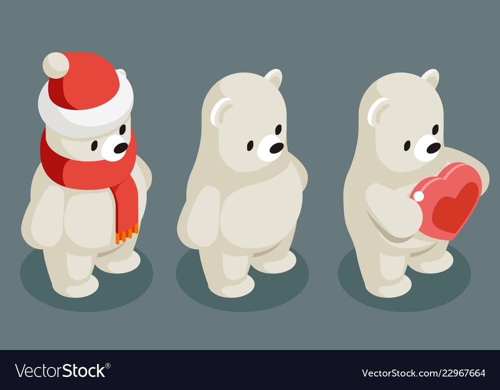 Isometric polar white bear christmas animal