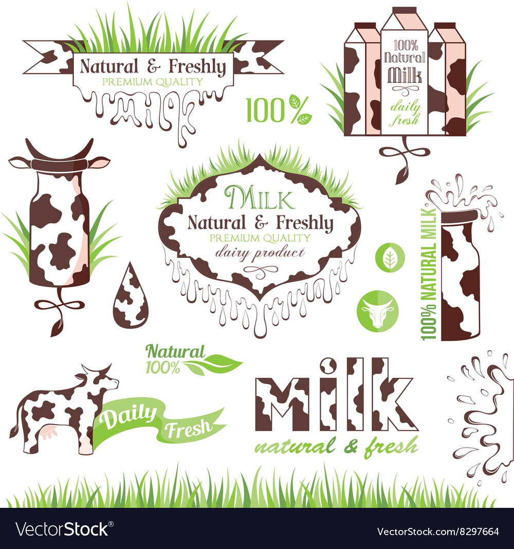 Milk labels stickers and banners