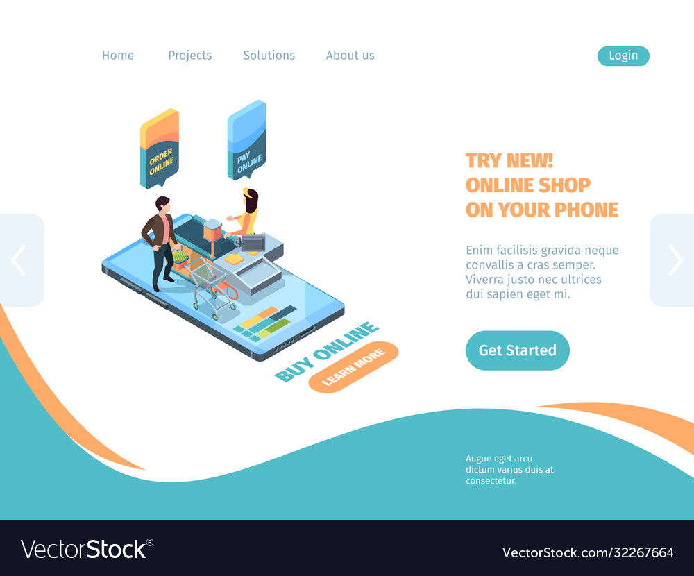 Online store landing page shopping smartphone