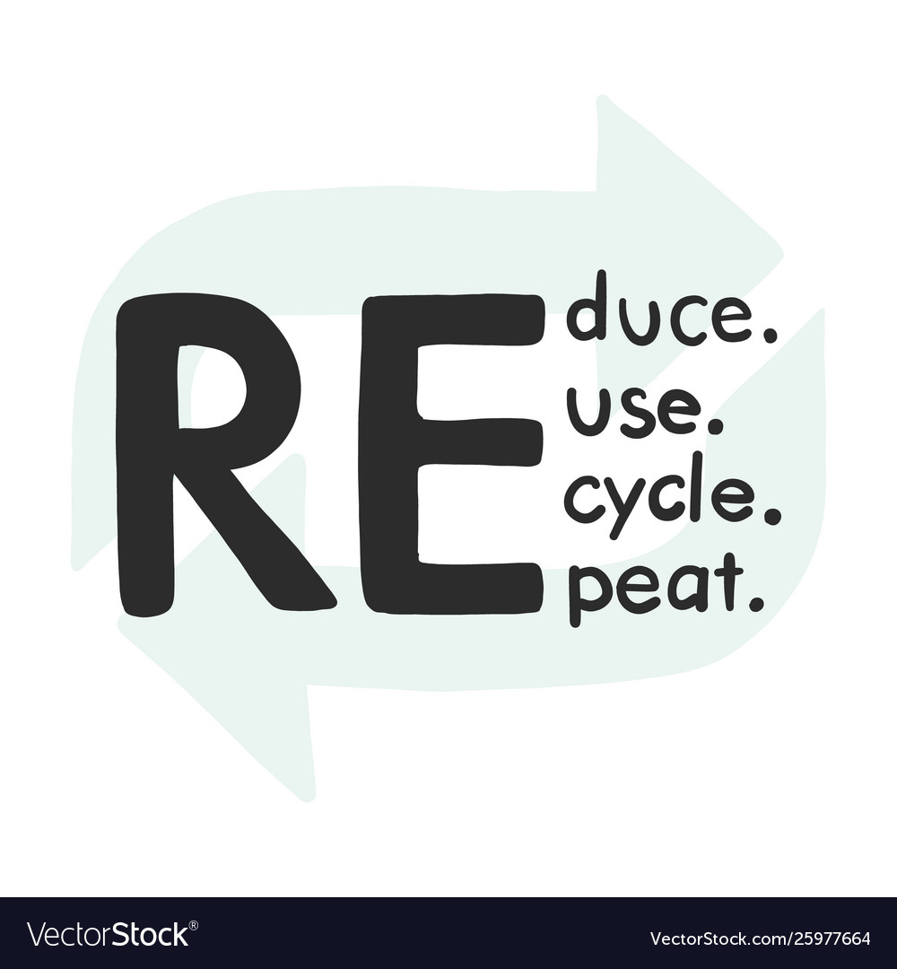 Reduce recycle reuse repeate text icon hand-drawn