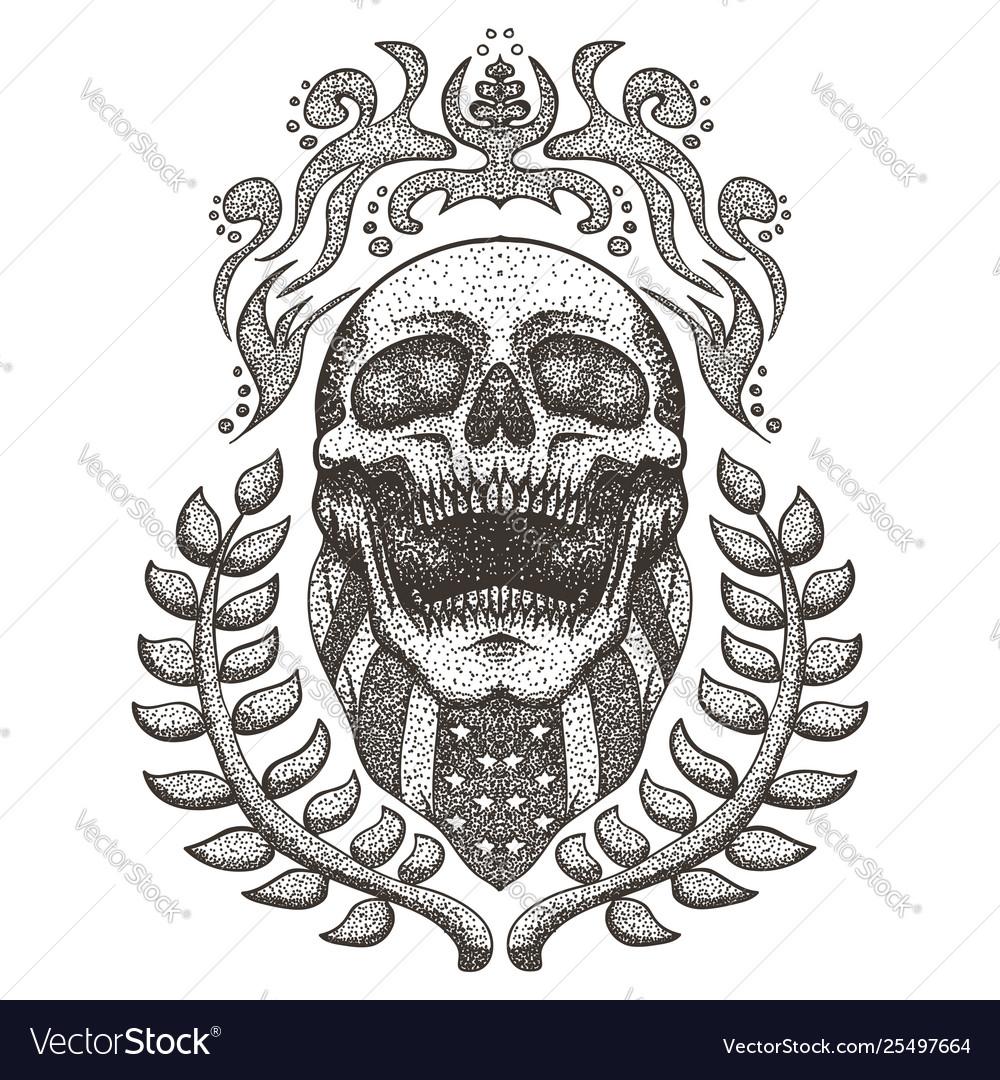 Skull usaskull bandana usa flag vintage ill