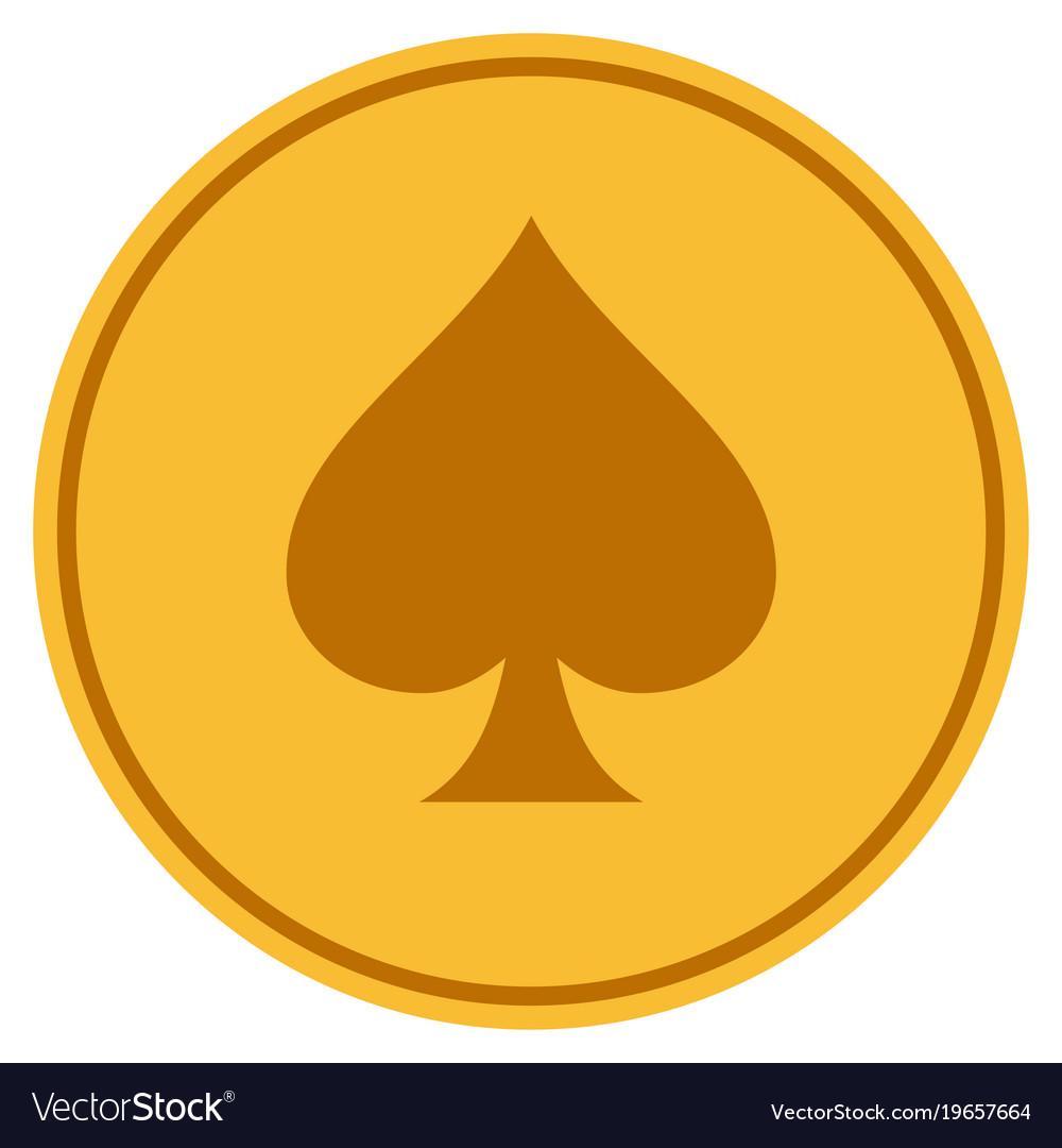 Spades suit gold coin