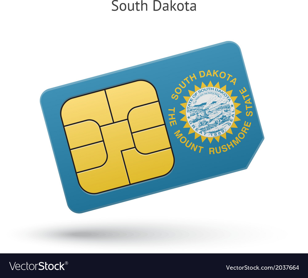 State of South Dakota phone sim card with flag vector image