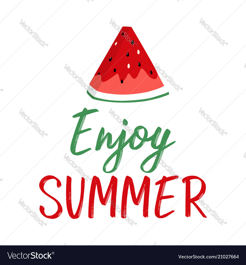 Summer greeting card with slice of watermelon and