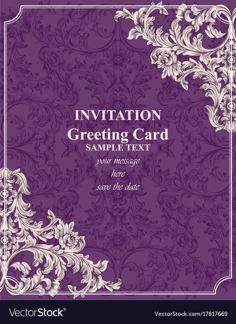 Baroque invitation card rich royal royalty free vector image baroque invitation card rich royal vector image stopboris Images