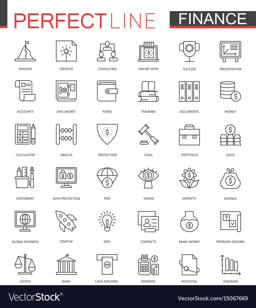 Business finance thin line web icons set money