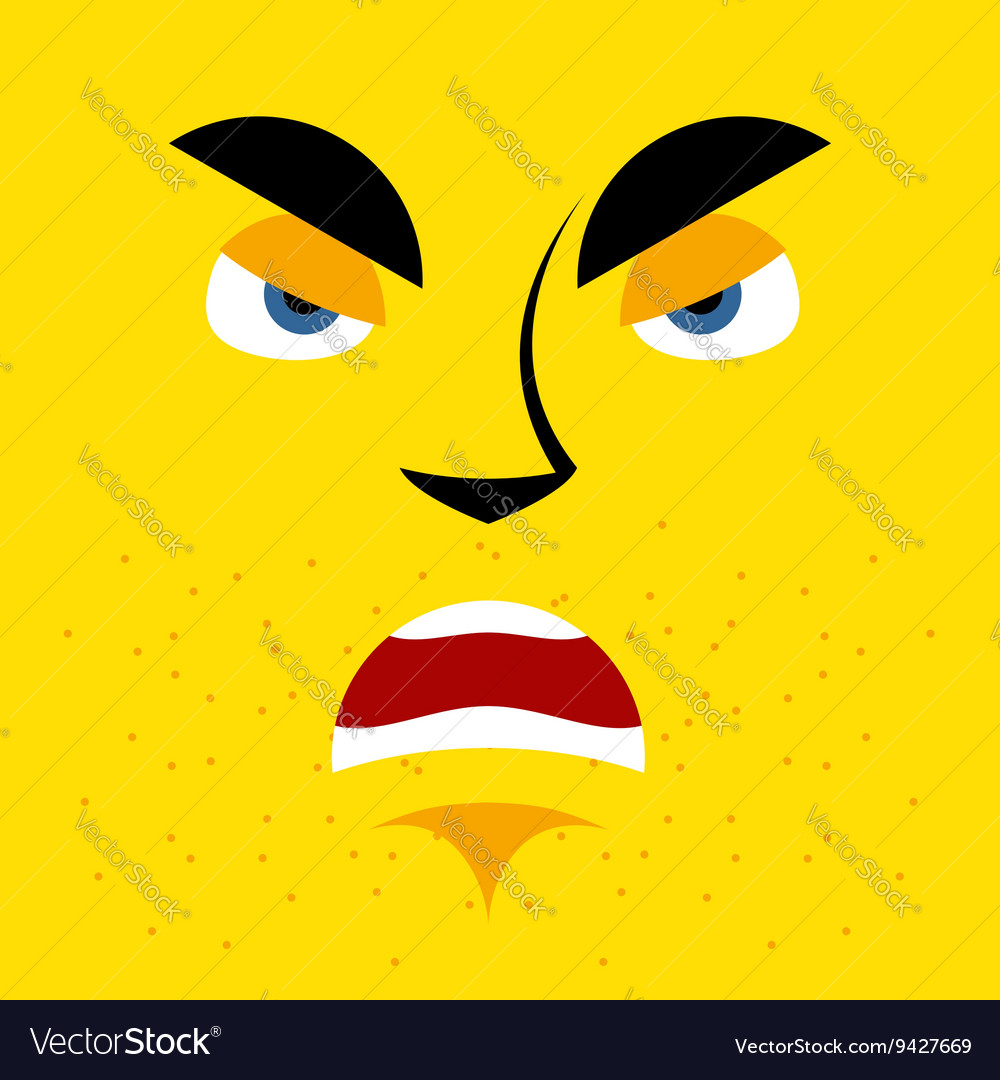 Cartoon angry face on yellow background aggressive