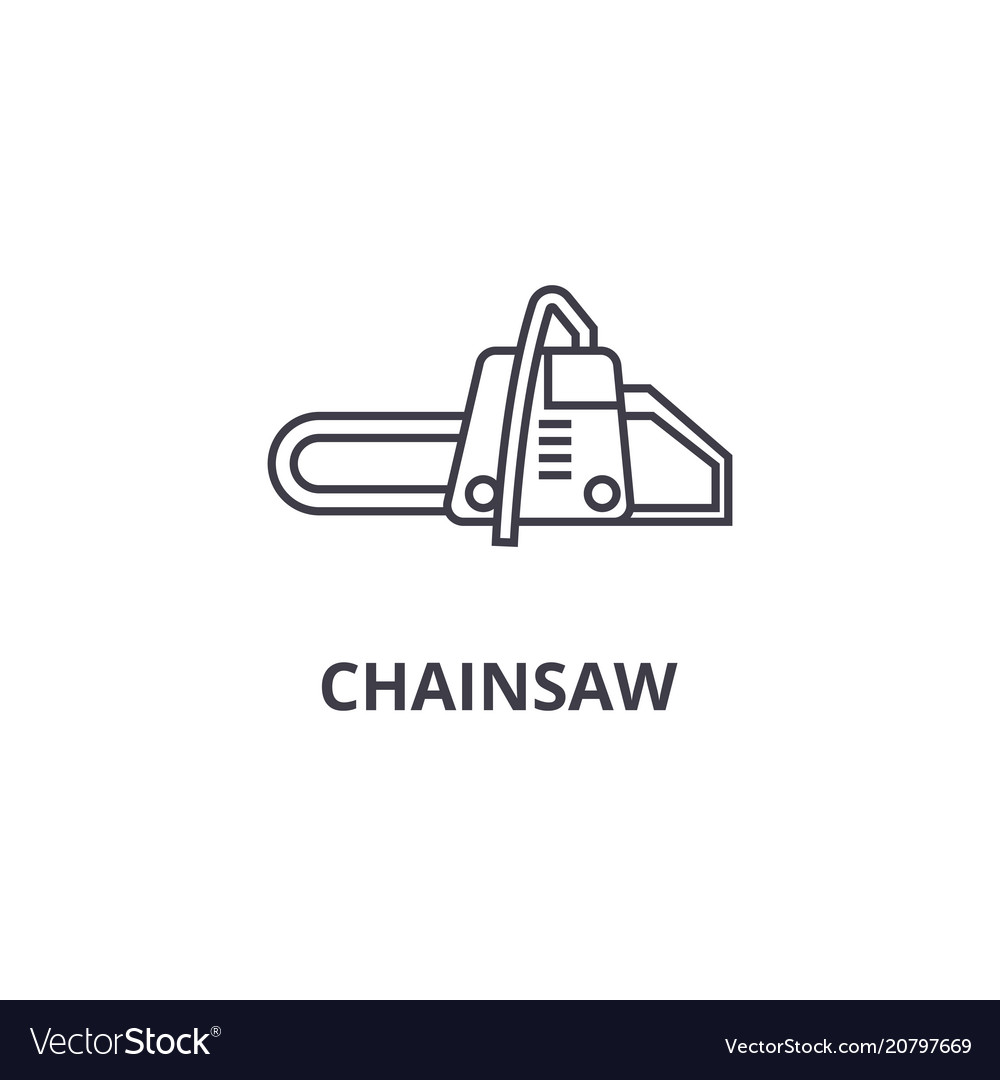 Chainsaw line icon sign on