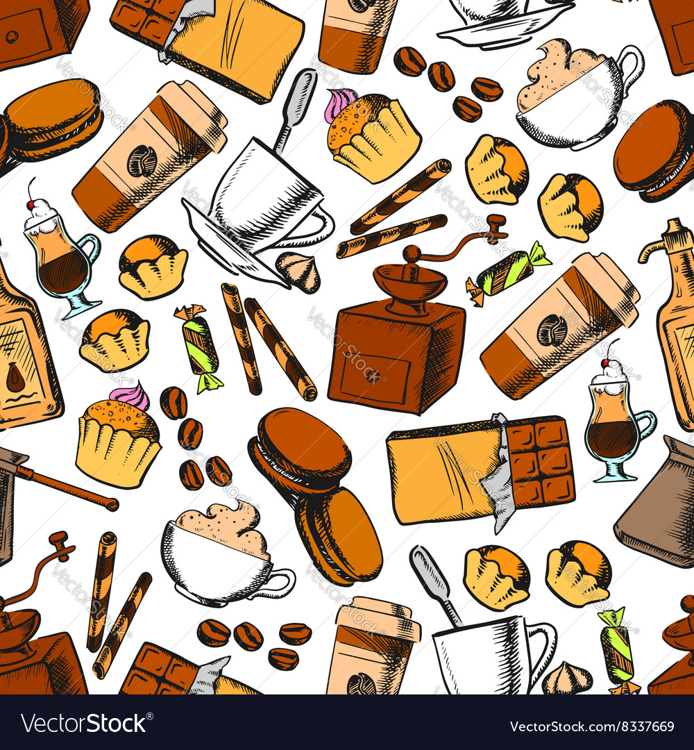 Coffee sweets and pastries seamless pattern