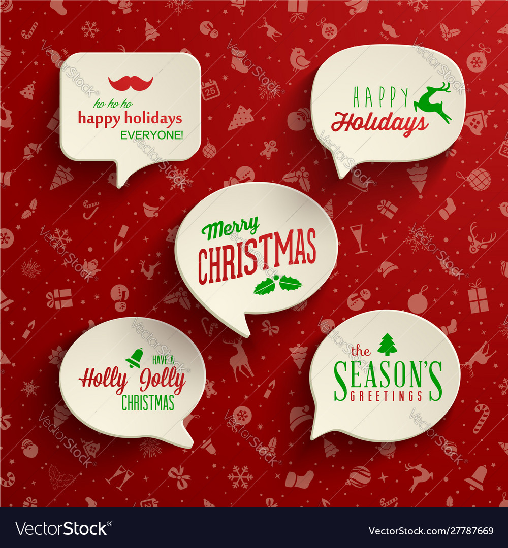 Collection holiday speech bubbles with various