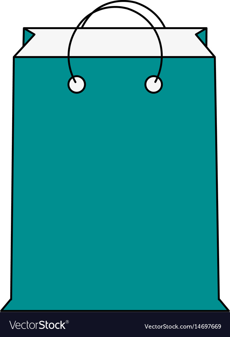 Color silhouette cartoon blue bag for shopping vector image