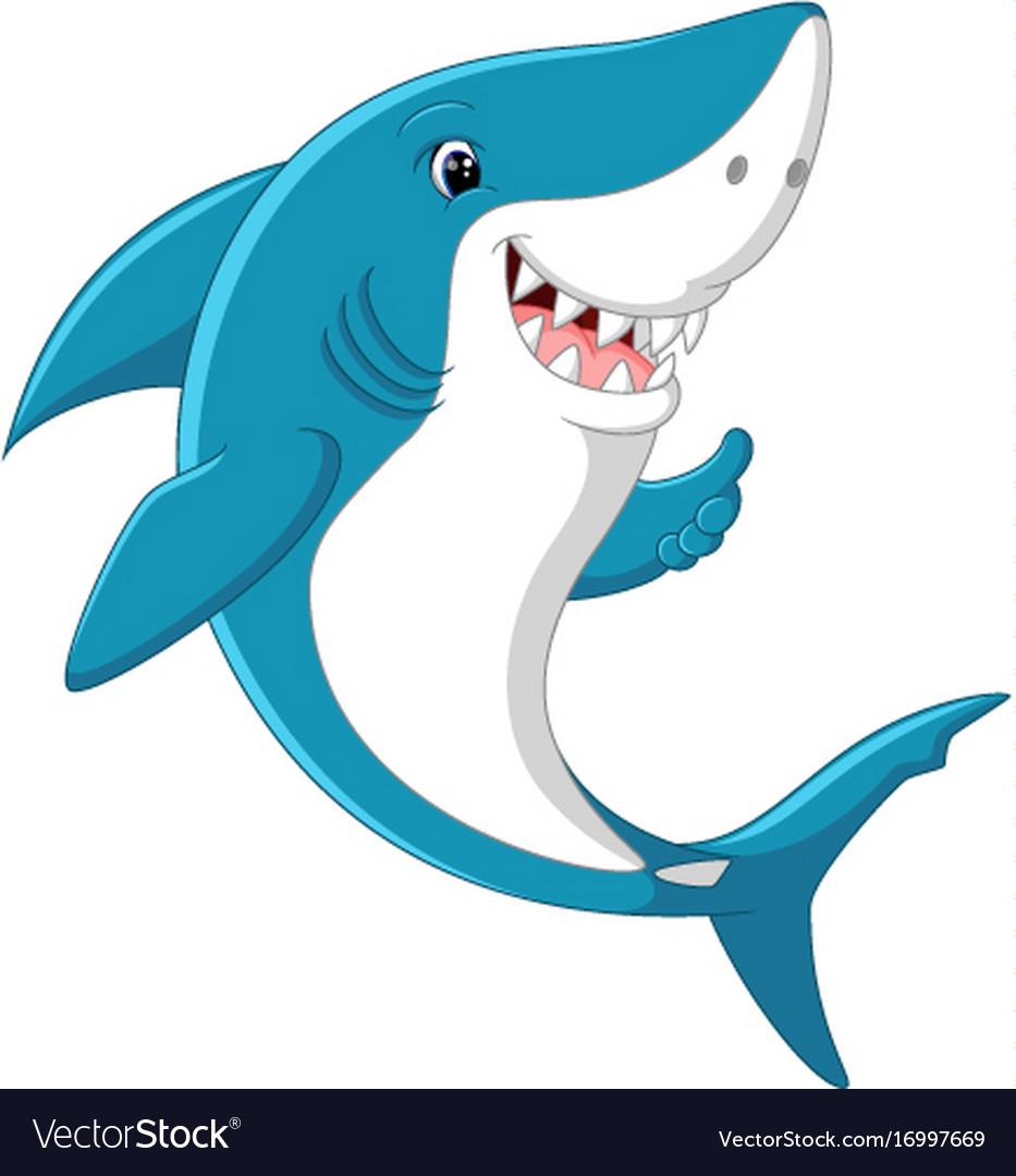 Cute shark giving thumb up Royalty Free Vector Image