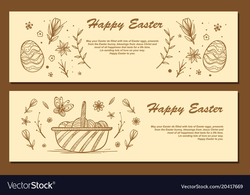 Easter eggs composition hand drawn black on white