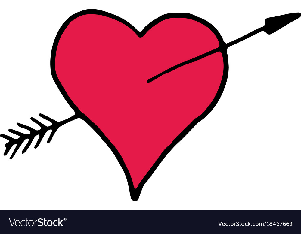 Heart with arrow cartoon hand drawn icon vector image